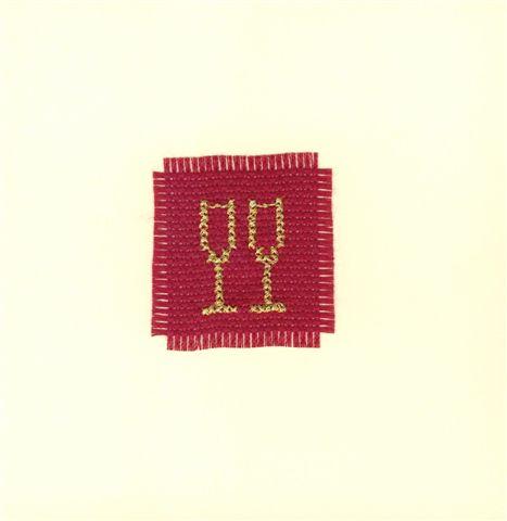 Modele de carte brodéee avec coupes champagne