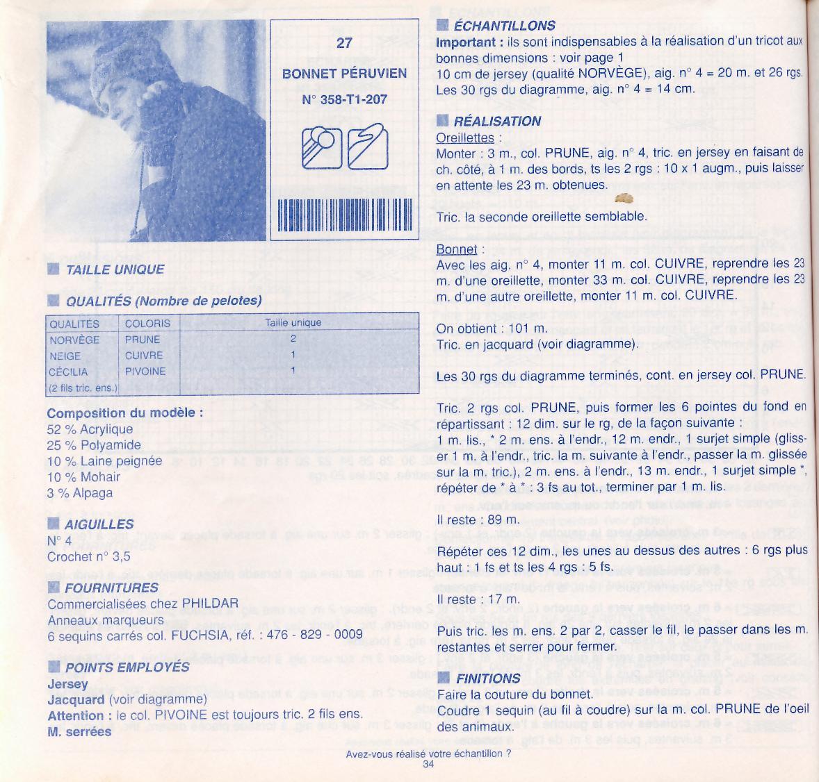 Modèle de bonnet péruvien - adulte enfant - et gants - VHD Créations ... a95d7fbad31