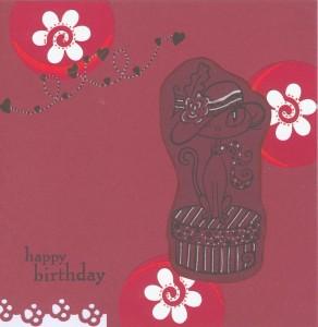 modele de carte d'anniversaire dans les tons sombres avec fleurs