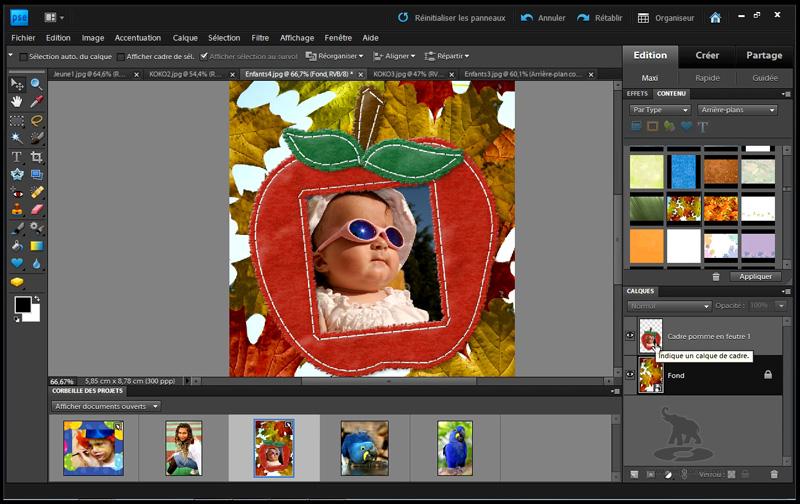 ajouter un décor aux photos dans photoshop elements 9