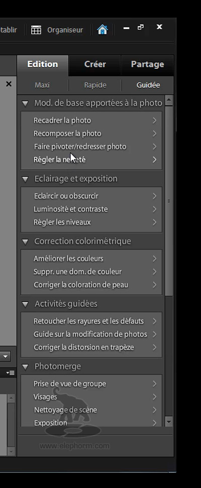 menu retouche de photoshop Elements 9