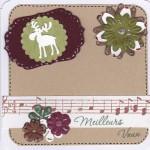 Thumbnail image for Carte de voeux avec notes de musique, cerf et motifs superposés